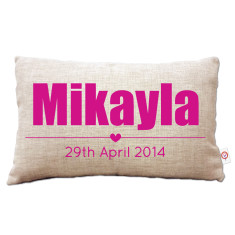 Girls' personalised name cushion cover (various colours)
