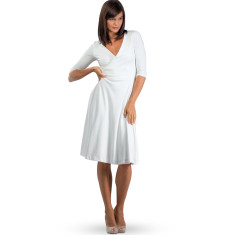 Organic pima cotton wrap dress in milk