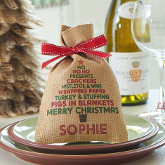 Personalised Christmas tree mini hessian sack