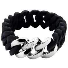Mini Woven bracelet in black & silver