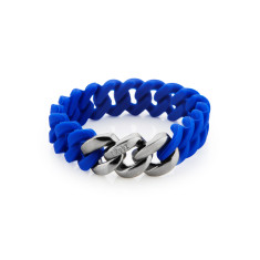 Mini woven bracelet in cobalt and antique silver