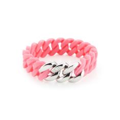 Mini woven bracelet in sorbet & silver