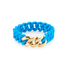 Mini woven bracelet in turquoise & gold