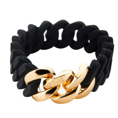 Slim woven bracelet in black & gold