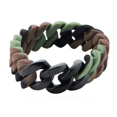 Slim woven bracelet in camo & black
