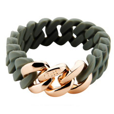 Slim woven bracelet in green tea & rose gold