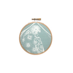 Screen printed Lorikeet framed in embroidery hoop (mini) - blue
