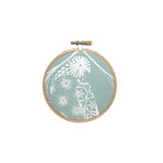 Screen printed Lorikeet framed in embroidery hoop (mini) - blue