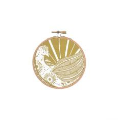 Screen printed Lyrebird framed in embroidery hoop (mini) - citrus