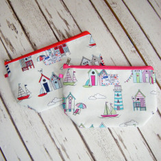 Beach hut sailboat seaside toiletry bag