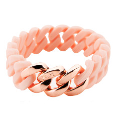 Mini woven bracelet in pink & pink gold