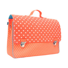 Cotton satchel in fluro orange with white stars and dots