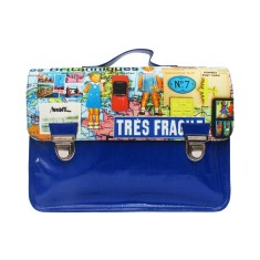 Vintage grand satchel in blue with Les Britanniques print
