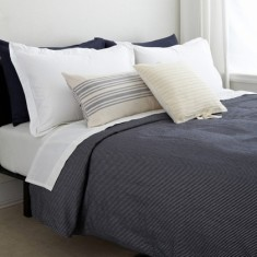 Organic cotton/linen indigo mini-stripe quilt set