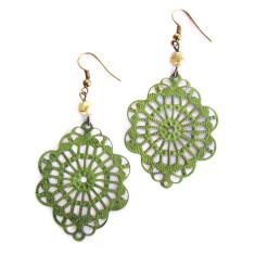 Mint green doily earrings