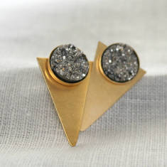 Silver and Gold Druzy Triangle Earrings