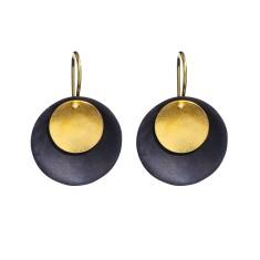Sunset ebony and gold drop earrings