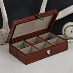 Personalised leather cufflinks box with 6 sections