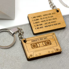 Personalised wooden mix tape key ring