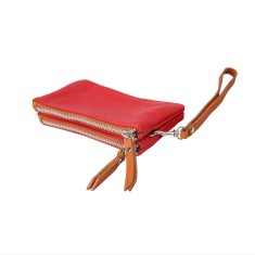 Due pouch in genuine leather with wristlet strap (various colours)