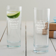 Personalised 'Will You Be My Matron Of Honour?' Hi Ball Glass