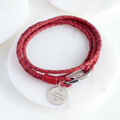 Personalised Red Leather Wrap Wristband