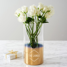 Personalised Family Name Gold Ombre Vase