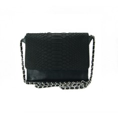 Black python and lambskin leather crossbody sling bag