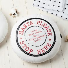 Personalised Santa Please Stop Here Cushion