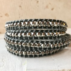 Charcoal Leather Multi Wrap Beaded Bracelet