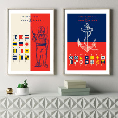 Nautical flags art prints (set of 2)