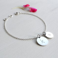 Personalised Sterling Silver Double Initial Disc Bracelet