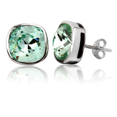 Chrysolite cushion stud earrings