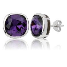 Purple velvet cushion stud earrings