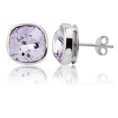 Violet cushion stud earrings