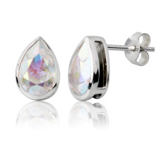 Aurora borealis teardrop stud earrings