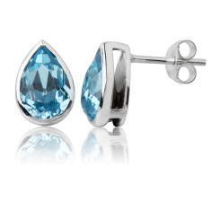 Aquamarine teardrop stud earrings