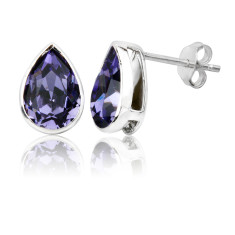 Tanzanite teardrop stud earrings