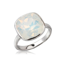 Swarovski crystal white opal cushion ring