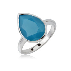 Caribbean blue teardrop ring