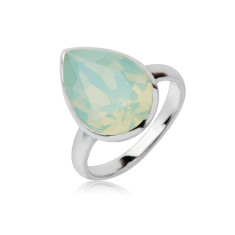 Chrysolite Opal teardrop ring