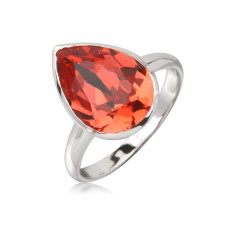 Padparadcha teardrop ring