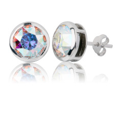 Aurora borealis round stud earrings