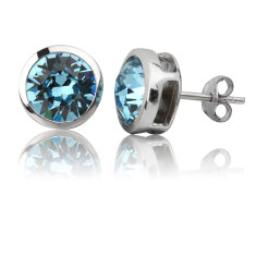 Aquamarine round stud earrings