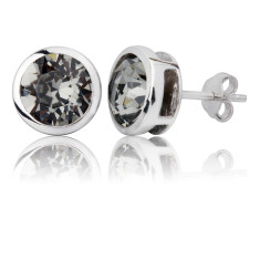 Black diamond round stud earrings