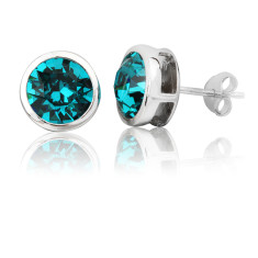 Blue zircon round 8mm stud earrings