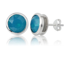 Caribbean blue opal round stud earrings