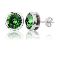 Fern green round stud earrings