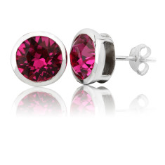 Fuchsia round stud earrings