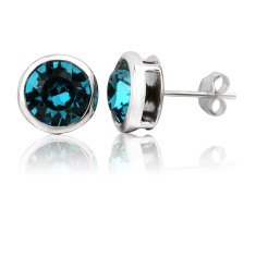 Indicolite round stud earrings